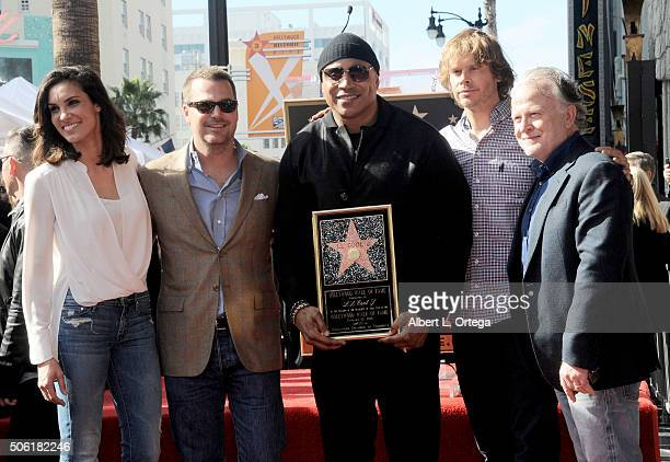 Cast of NCIS LA Daniela Ruah Chris O'Donnell LL Cool J Eric Christian Olsen and Shane Brennan at the Star On The Hollywood Walk of Fame Ceremony held...