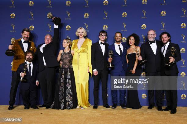 Cast of Outstanding Drama Series winner 'Game of Thrones' poses in the press room during the 70th Emmy Awards at Microsoft Theater on September 17,...