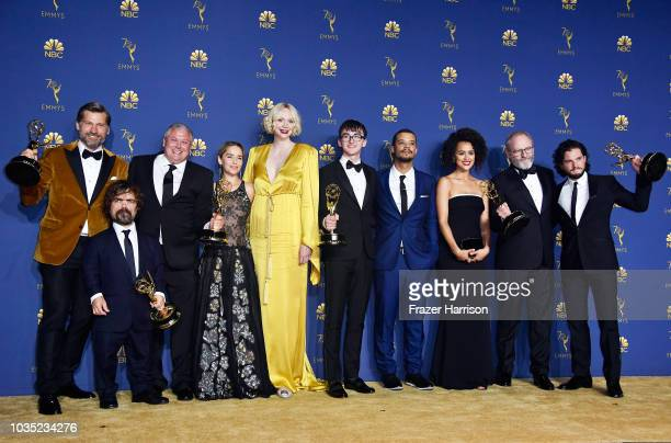 Cast of Outstanding Drama Series winner 'Game of Thrones' poses in the press room during the 70th Emmy Awards at Microsoft Theater on September 17...
