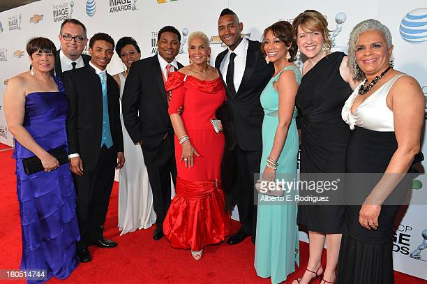 Cast of Outstanding Reality Series winner 'Welcome to Sweetie Pie's' poses in the press room during the 44th NAACP Image Awards at The Shrine...