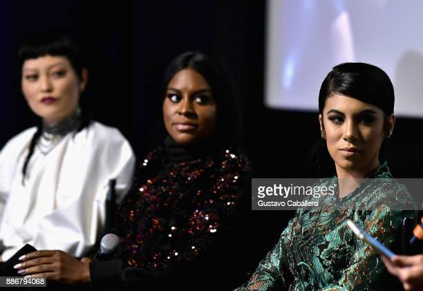 Cast Of Pitch Perfect 3 Hana Mae LeeEster Dean and Chrissie Fit Attend GrammyU Screening And QA Moderated By OnAir Personality Gigi Diaz In Miami at...