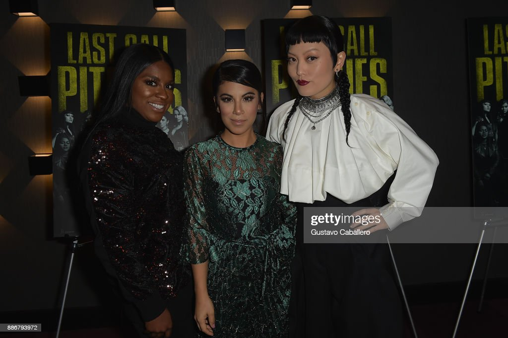 Cast Of Pitch Perfect 3, Hana Mae Lee, Chrissie Fit And Ester Dean Attend GrammyU Screening And Q+A Moderated By On-Air Personality Gigi Diaz In Miami