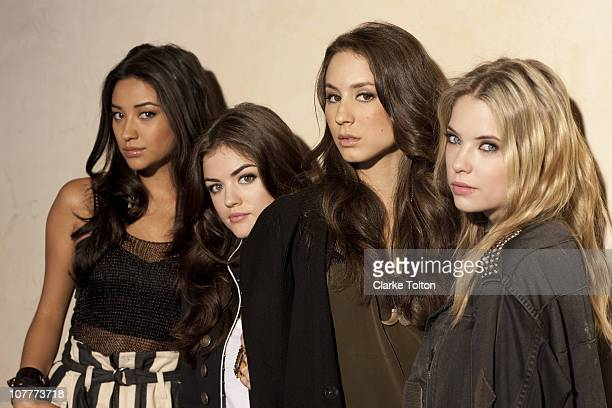 Cast of Pretty Little Liars Shay Mitchell Lucy Hale Troian Avery Bellisario and Ashley Benson pose at a photo shoot for Nylon Magazine on July 9 2010...