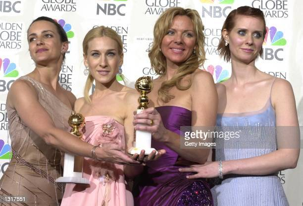 Cast of 'Sex and the City' pose backstage at the Golden Globe Awards January 21 2001 in Beverly Hills CA