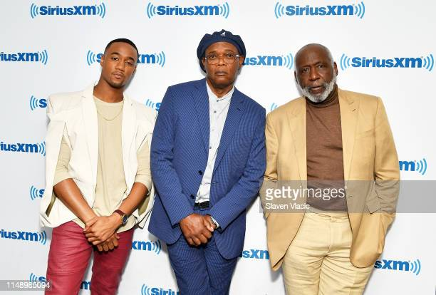 Cast of Shaft Jessie Usher Samuel L Jackson and Richard Roundtree visit SiriusXM Studios on June 10 2019 in New York City