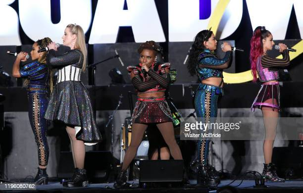 """Cast of """"SIX"""" featuring Adrianna Hicks, Andrea Macasaet, Abby Mueller, Brittney Mack, Samantha Pauly and Anna Uzele during the BroadwayCon 2020 First..."""