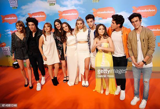 Cast of Soy Luna pose during Orange Carpet as part of Nickelodeon KidsÕChoice Awards Argentina 2016 at Teatro Coliseo on October 13 2016 in Buenos...