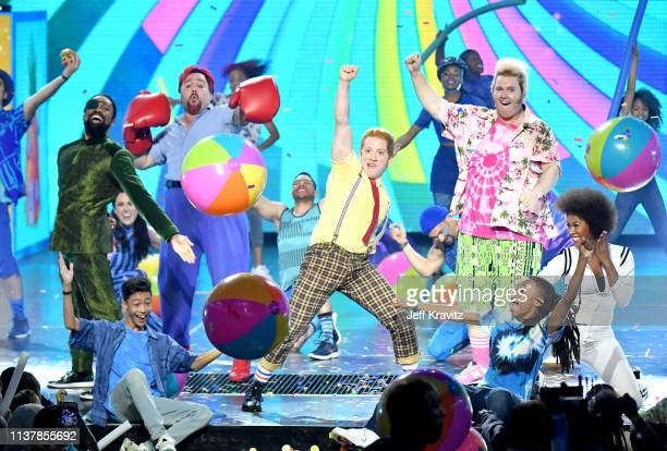 Cast of Spongebob musical performs onstage at Nickelodeon's 2019 Kids' Choice Awards at Galen Center on March 23, 2019 in Los Angeles, California.
