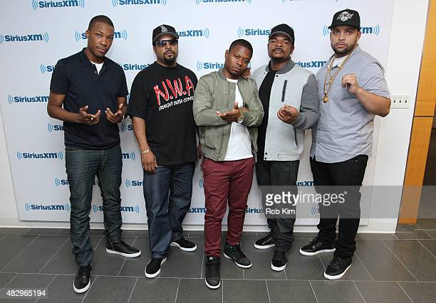 Cast of Straight Outta Compton Corey Hawkins Ice Cube Jason Mitchell F Gary Gray and OÕShea Jackson Jr visit at SiriusXM Studios on August 4 2015 in...