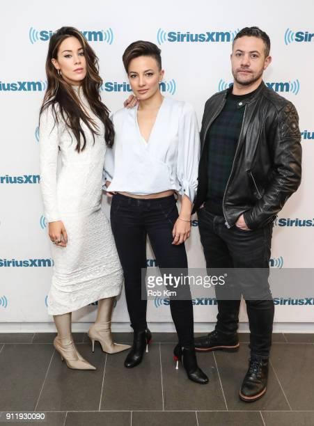 Cast of Strike Back Roxanne McKee Alin Sumarwata and Warren Brown visit SiriusXM Studios on January 29 2018 in New York City