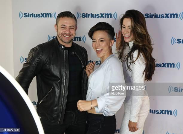 Cast of Strike Back Warren Brown Alin Sumarwata and Roxanne McKee visit SiriusXM Studios on January 29 2018 in New York City