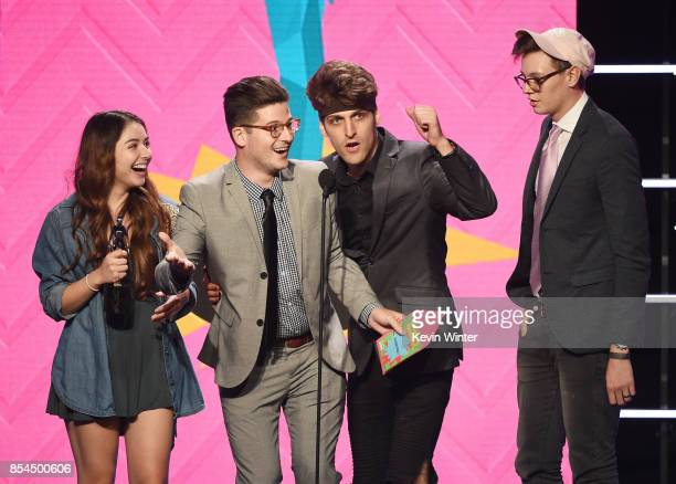 Cast of Sugar Pine 7 onstage during the 2017 Streamy Awards at The Beverly Hilton Hotel on September 26 2017 in Beverly Hills California