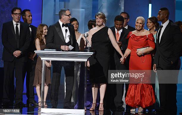 Cast of 'Sweetie Pie' speaks onstage during the 44th NAACP Image Awards at The Shrine Auditorium on February 1 2013 in Los Angeles California