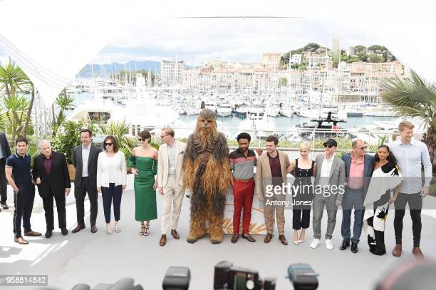 Cast of the film attend the 'Solo A Star Wars Story' official photocall at Palais des Festivals on May 15 2018 in Cannes France