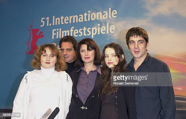 Cast of the film 'Fat Girl' Anais Reboux actressJeanFrancois Lepetit producer Catherine Breillat Director with Roxane Mesquida and Libero de Rie nzo