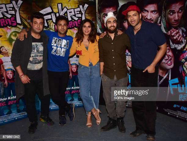 Cast of the film Fukrey Returns Varun Sharma Pulkit Samrat Richa Chadda Manjot Singh and Ali Fazal spotted promoting the film Fukrey Returns at...