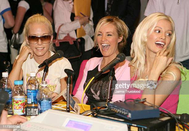 Cast of The Girls Next Door during The 48th Annual GRAMMY Awards Westwood One Radio Room Day 2 at Staples Center in Los Angeles California United...