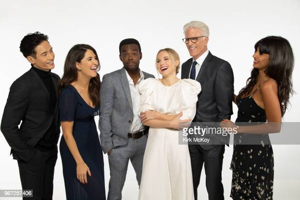 Cast of 'The Good Place' Manny Jacinto D'Arcy Carden William Jackson Harper Kristen Bell Ted Danson and Jameela Jamil are photographed for Los...