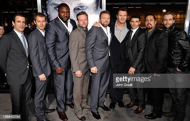 Cast of The Grey Dermot Mulroney James Badge Dale Nonso Anozie Dallas Roberts Joe Carnahan Liam Neeson Frank Grillo Ben Bray and Joe Anderson attend...