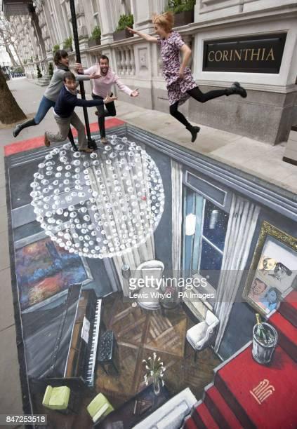 Cast of The Leisure Society Melanie Gray Ed Stoppard John Schwab and Agyness Deyn pose outside the Corinthia Hotel London on a piece of 3D Street Art...