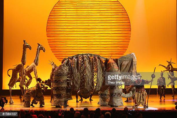 Cast of 'The Lion King' perform on stage during the 62nd Annual Tony Awards at Radio City Music Hall on June 15 2008 in New York City