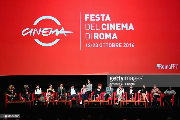 Cast of the movie attends a press conference for '7 Minuti' during the 11th Rome Film Festival at Auditorium Parco Della Musica on October 21 2016 in...