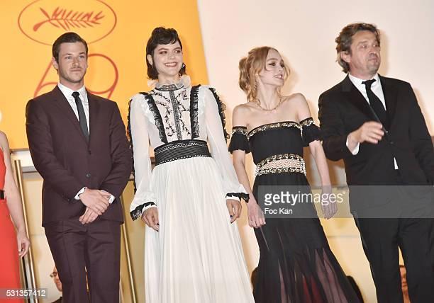 Cast of the movie 'La danseuse' Gaspard Ulliel Soko LilyRose Depp and LouisDo de Lencquesaing attend the 'I Daniel Blake' premiere during the 69th...