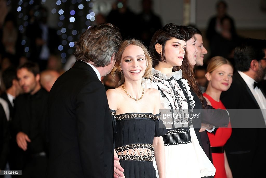 Cast of the movie 'La danseuse' Louis-Do de Lencquesaing, Lily-Rose Depp and Soko attend the 'I, Daniel Blake' premiere during the 69th annual Cannes Film Festival at the Palais des Festivals on May 13, 2016 in Cannes, France.