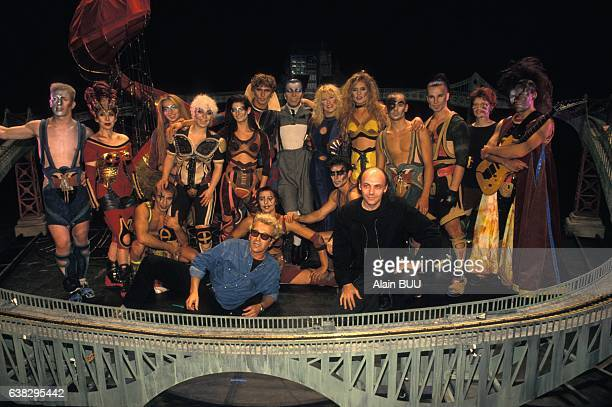 Cast of the musical Starmania at the théâatre Mogador staged by Lewis Furey on September 28 1993 in Paris France