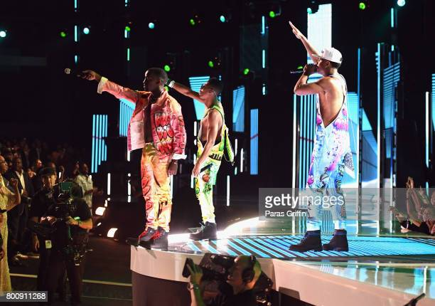 Cast of 'The New Edition Story' perform onstage at 2017 BET Awards at Microsoft Theater on June 25 2017 in Los Angeles California