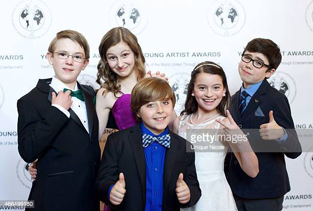 Cast of the PBS Kids Odd Squad Sean Michael Kyer Julia Lalonde Christian Distefano Dalila Bela and Alex Thorne attend the 36th annual Young Artist...