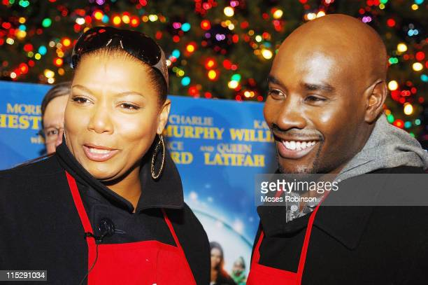 Cast of 'The Perfect Holiday' actress Queen Latifah and actor Morris Chestnut play 'Angel' for deserving kids during the Salvation Army's Angel Tree...