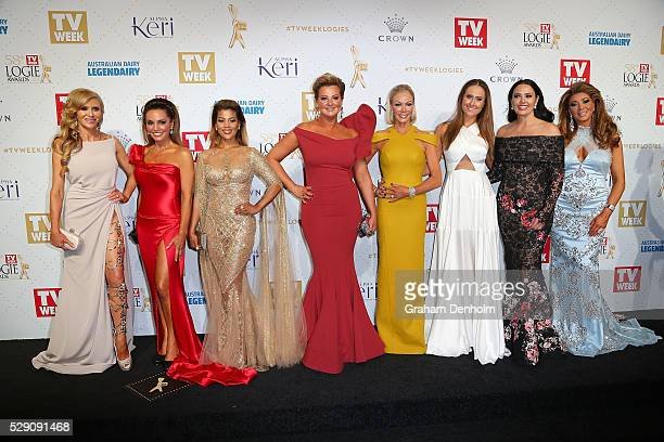 Cast of the Real Housewives of Melbourne arrive at the 58th Annual Logie Awards at Crown Palladium on May 8 2016 in Melbourne Australia