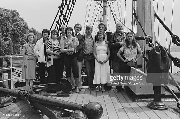 Cast of the television drama series The Onedin Line posed together on the sailing ship RRS Discovery in London on 13th July 1978 Members of the cast...