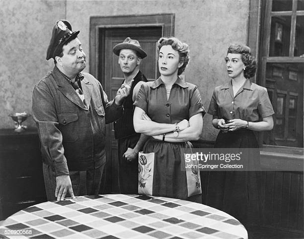 Cast of the television series The Honeymooners from left Jackie Gleason Art Carney Audrey Meadows and Joyce Randolph
