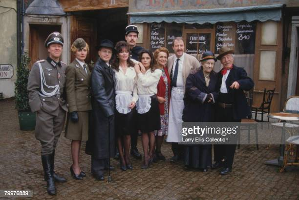 Cast of the television sitcom series 'Allo 'Allo pictured together on location in Mundford Norfolk on 22nd April 1986 From left to right Guy Siner as...