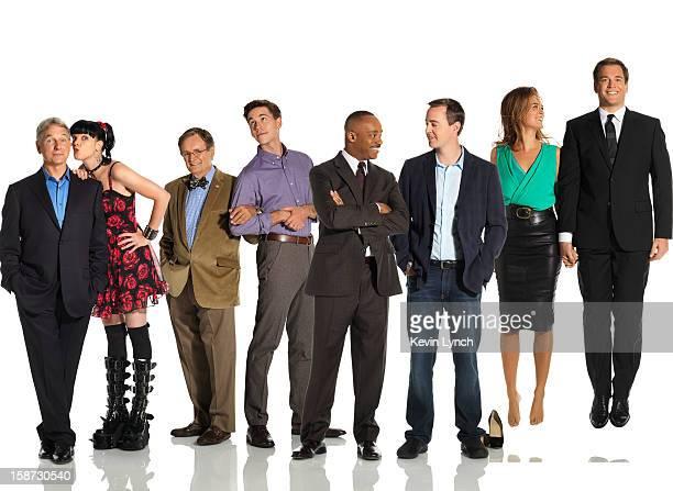 Cast of the tv show NCIS Mark Harmon Cote de Pablo Michael Weatherly Pauley Perette Rocky Carroll Sean Murray David McCallum and Brian Deitzen are...