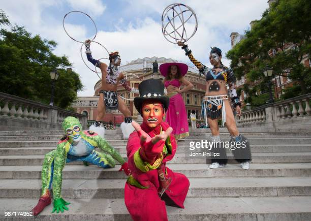 Cast of the world famous Cirque Du Soleil 'Totem' pose outside The Royal Albert Hall on June 4 2018 in London England ahead of the shows return to...