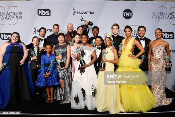 Cast of 'This Is Us' winners of Outstanding Performance by an Ensemble in a Drama Series pose in the press room during the 25th Annual Screen...
