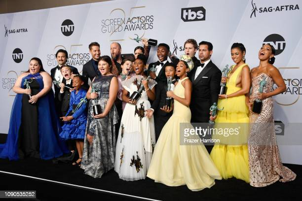 Cast of 'This Is Us,' winners of Outstanding Performance by an Ensemble in a Drama Series, pose in the press room during the 25th Annual Screen...