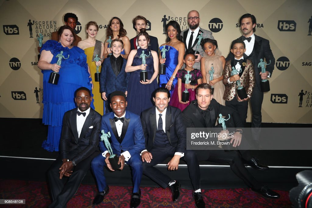 Cast of 'This Is Us', winners of Outstanding Performance by an Ensemble in a Drama Series, pose in the press room during the 24th Annual Screen Actors Guild Awards at The Shrine Auditorium on January 21, 2018 in Los Angeles, California. 27522_017