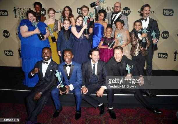 Cast of 'This Is Us' winners of Outstanding Performance by an Ensemble in a Drama Series pose in the press room during the 24th Annual Screen Actors...