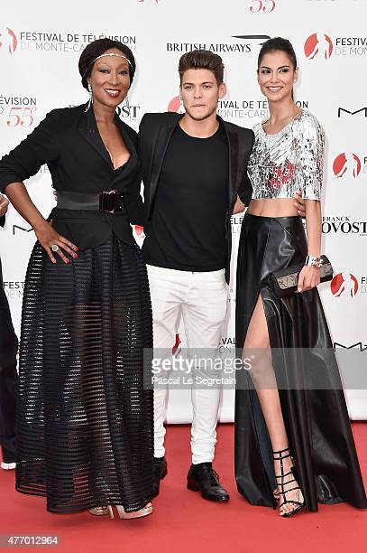 Cast of TV series Pep's Nadege BeaussonDiagne Rayane Bensetti and Catalina Denis arrive to attend the opening ceremony of the 55th Monte Carlo TV...