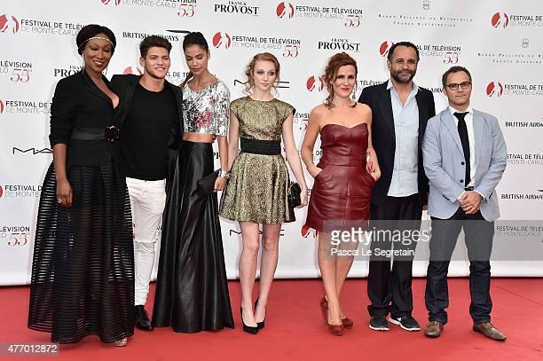 Cast of TV series Pep's Nadege BeaussonDiagne Rayane Bensetti Catalina Denis Ingrid Juveneton Noemie de Lattre Yannig Samot and Soren Prevost arrive...