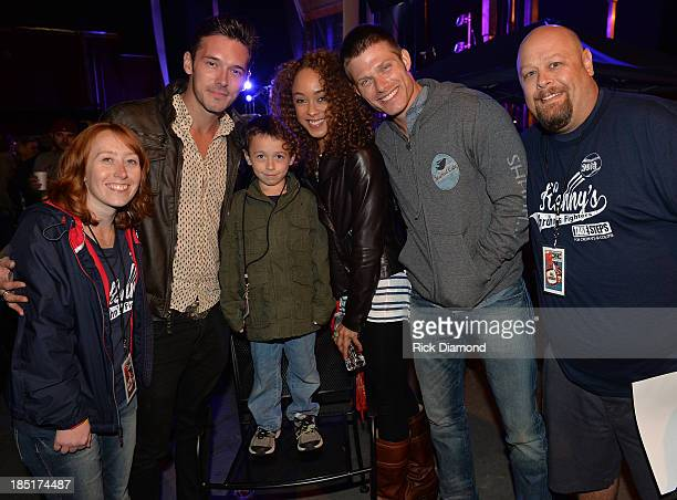 Cast of TV's Nashville Actors Sam Palladio Chaley Rose and Chris Carmack with Erin Smith holding 7 year old Kenny Smith who suffers from Crohns...