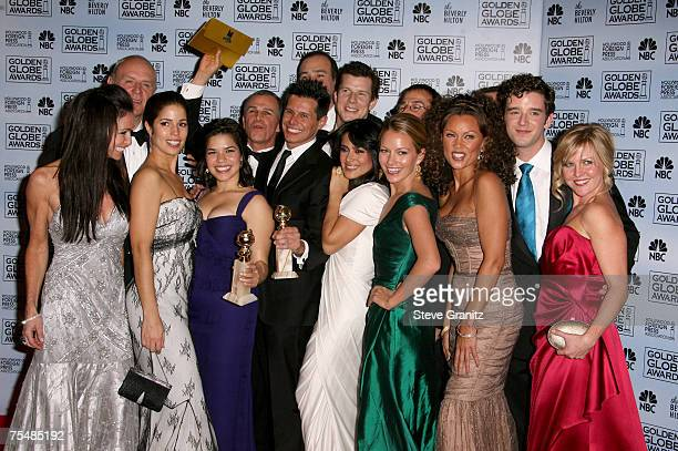 Cast of Ugly Betty winner Best Television Series Musical Or Comedy at the Beverly Hilton in Los Angeles California