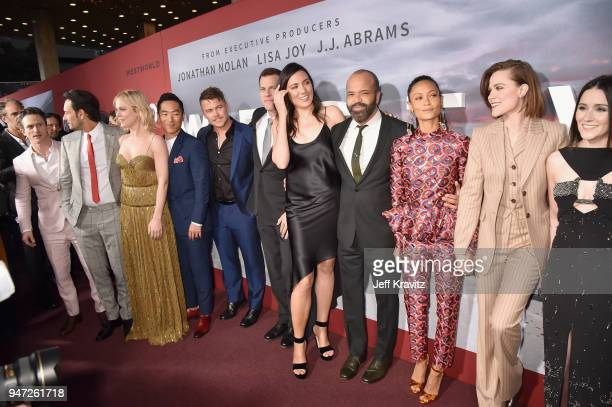Cast of 'Westworld' attend the Los Angeles Season 2 premiere of the HBO Drama Series WESTWORLD at The Cinerama Dome on April 16 2018 in Los Angeles...