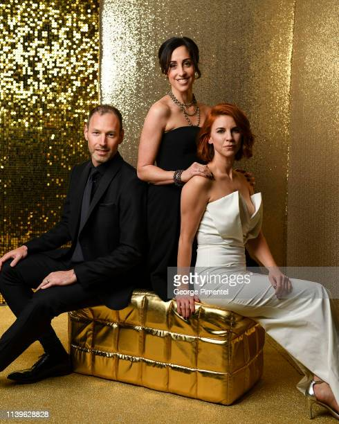 Cast of Working Moms Philip Sternberg Catherine Reitman and Dani Kind pose inside the 2019 Canadian Screen Awards Portrait Studio held at Sony Centre...