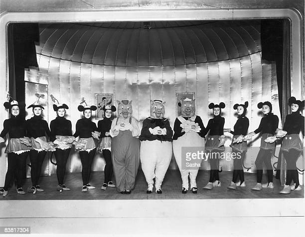 A cast of young women as Mickey and Minnie Mouse and the Three Little Pigs in a production of 'Monte Carlo Follies' at the Grosvenor House Hotel...