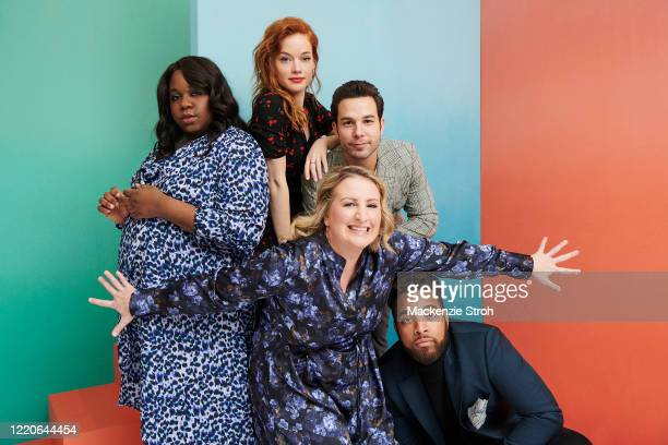 Cast of 'Zoey's Extraordinary Playlist' from left, Alex Newell, Jane Levy, choreographer Mandy Moore, Skylar Astin and John Clarence Stewart are...